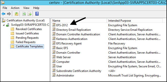 How to auto enroll client certificates using group policy the new certificate template should now appear in the certificate templates folder in this example new certificate template efs 2012 is listed yelopaper Choice Image